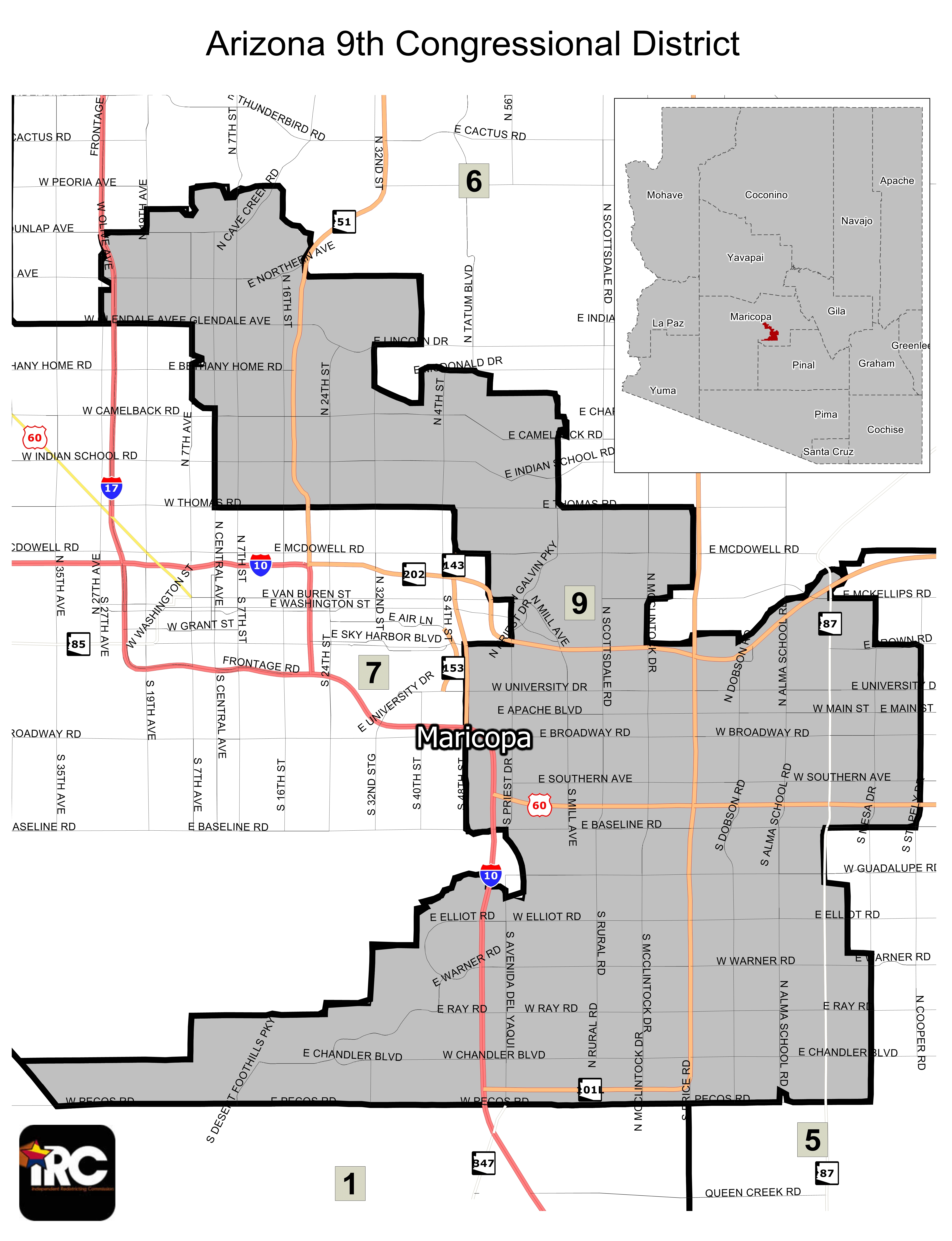 Map Of Arizona 5th Congressional District.Districts Independent Redistricting Commission