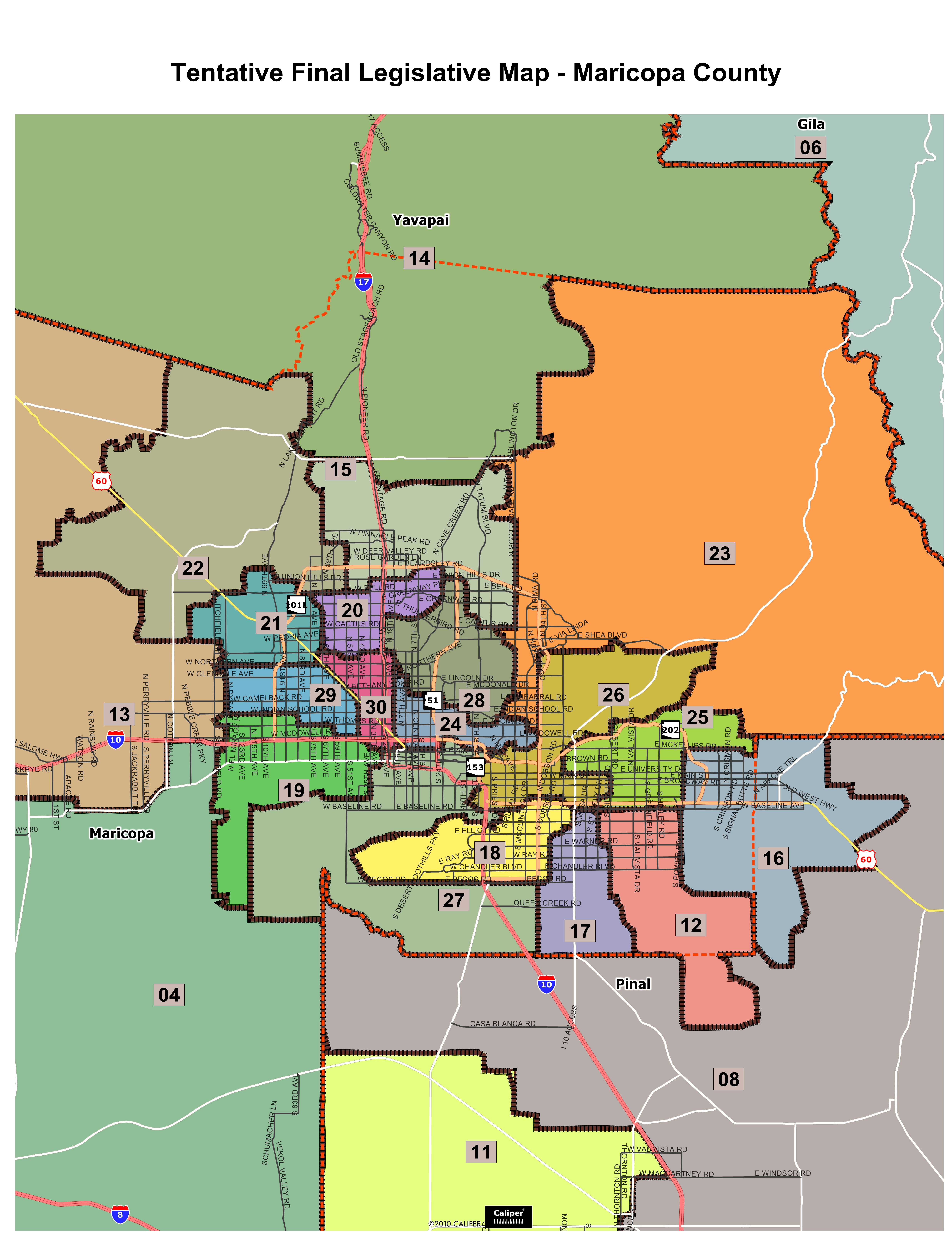 Map Of Arizona Voting Districts.Tentative Final Maps
